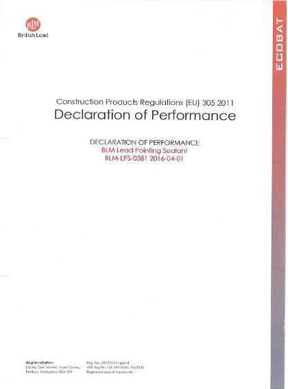 Declaration of Performance - Lead Pointing Sealant