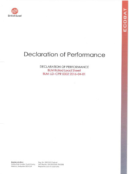 Declaration of Performance - Rolled Lead Sheet