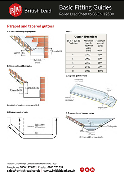 Fitting Guides Rolled Lead - Parapet and Tapered Gutters