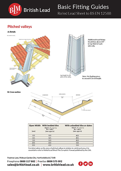 Fitting Guides Rolled Lead - Pitched Valley Gutters