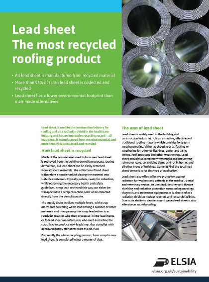 ELSIA Lead Sheet - The most recycled roofing product