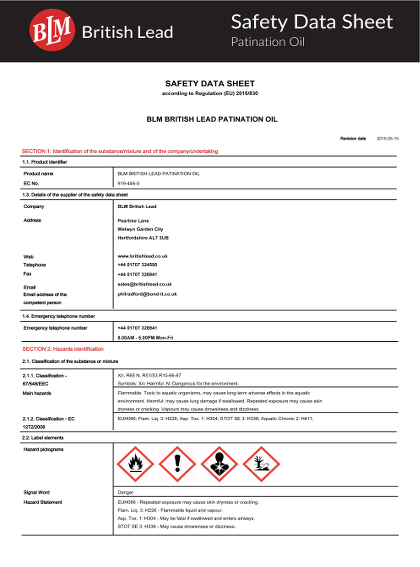 Patination Oil Health and Safety Data Sheet