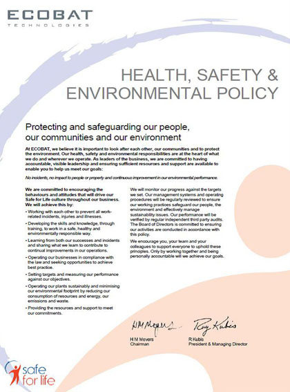 Health and Safety and Enviornmental Policy Statement